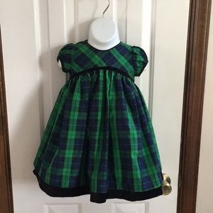Cherokee 18 month blue and green plaid dress